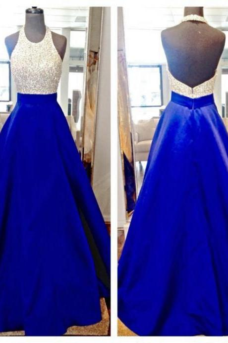 Long Beaded Royal Blue Prom Dresses Featuring Halter Neckline Long Satin A Line Evening Gowns