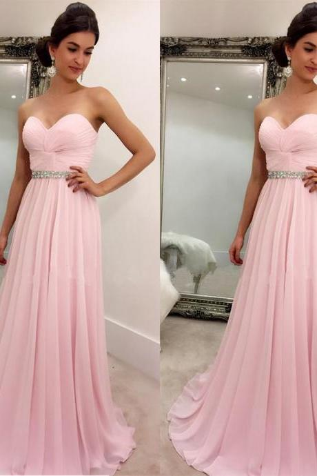 Long Pink Prom Dresses Floor Length Chiffon Sweetheart A Line Evening Gowns