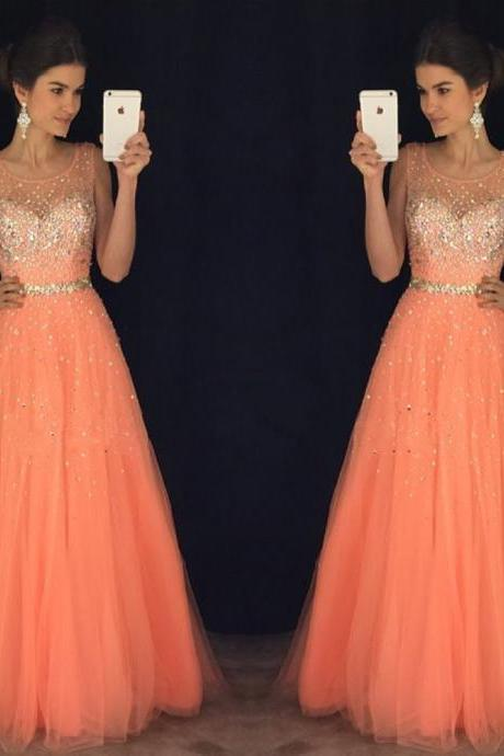 Fashion Women Strapless Beaded Formal Dresses Coral Tulle Evening Party Gonws
