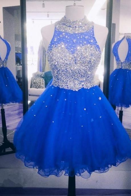 Backless Royal Blue Short Evening Dresses, Mini Organza Prom Dresses, Cheap Party dresses, Formal Gowns