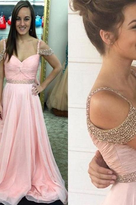 Baby Pink Chiffon Prom Dresses Featuring Off The Shoulder Long Elegant Evening Gowns