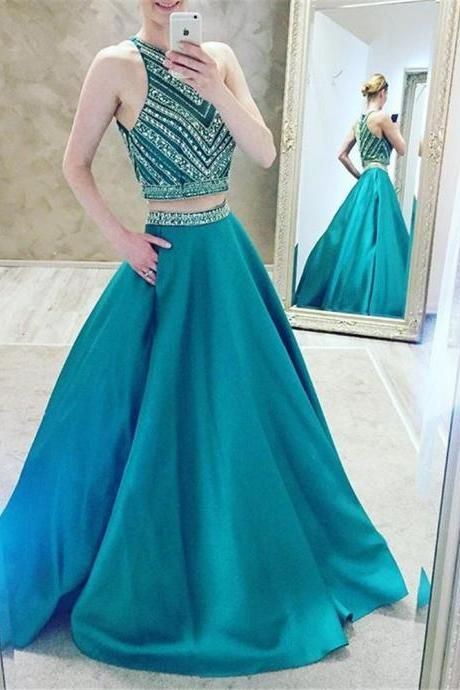 Sexy 2 Piece Prom Dress Women Formal Dresses Light Blue Satin Evening Party Gonws With Beaded Bodice And Pocket