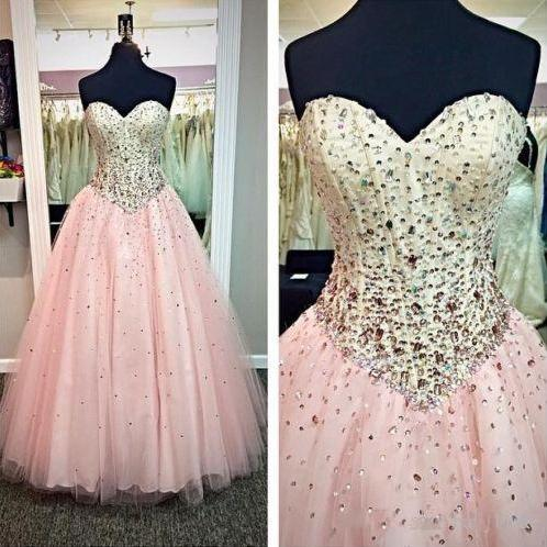 Sparkly Pink Prom Dresses Long Tulle Beaded Evening Party Formal Gonws With Sweetheart Neckline