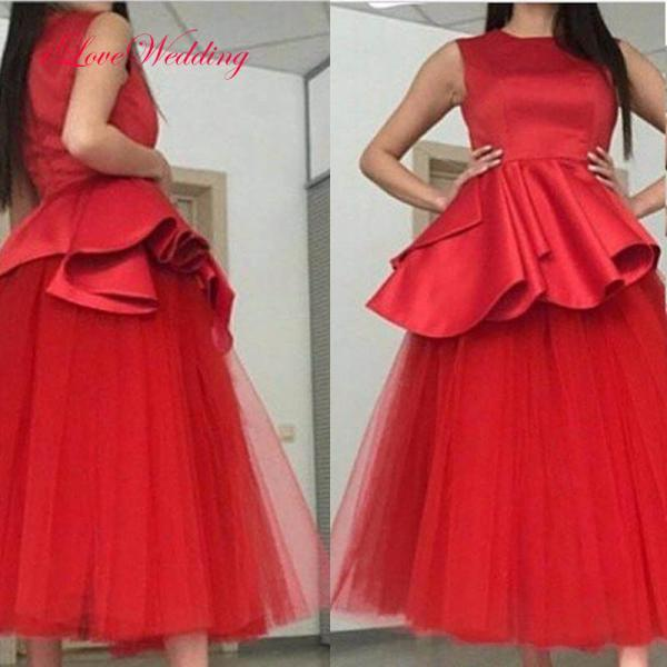 Red Tea Length Prom Dresses Long Satin Tulle Evening Party Formal Gonws With Scoop Neckline