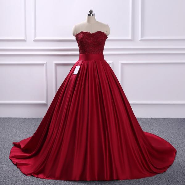 Elegant Long Women Sweetheart Formal Dresses Burgundy Satin Lace Applique Evening Party Ball Gonws With Sweetheart Neckline