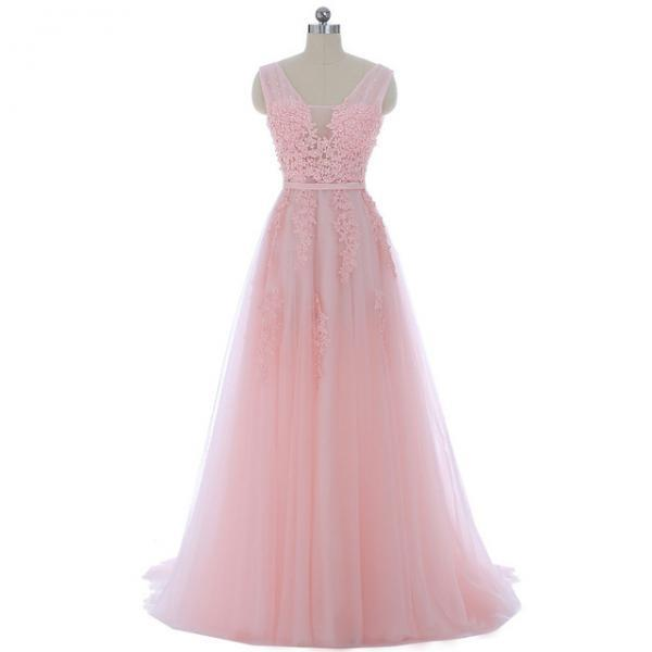 Long Women V Neck Prom Dresses A Line Pink Tulle Lace Applique Evening Party Dresses