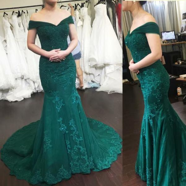 Luxury Evening Gowns Hunter Green Off Shoulder Mermaid Evening Dresses Long 2019 Formal Dress