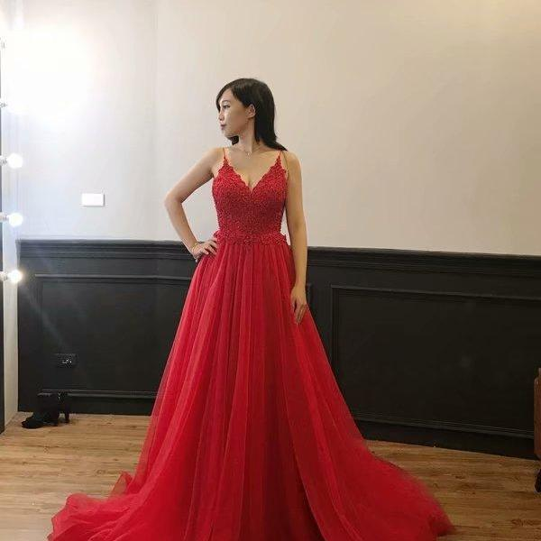 Sexy Evening Gowns V Neck Tulle Evening Dresses Long 2019 Formal Dress