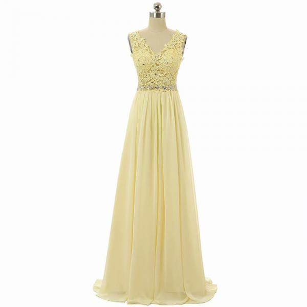 A-Line V-Neck Floor-Length Empire Yellow Chiffon Bridesmaid Dress With Lace Bodice