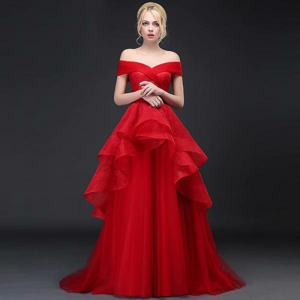 2019 New A-Line V-Neck Long Tulle Red Bridesmaid Dresses With Off Shoulder