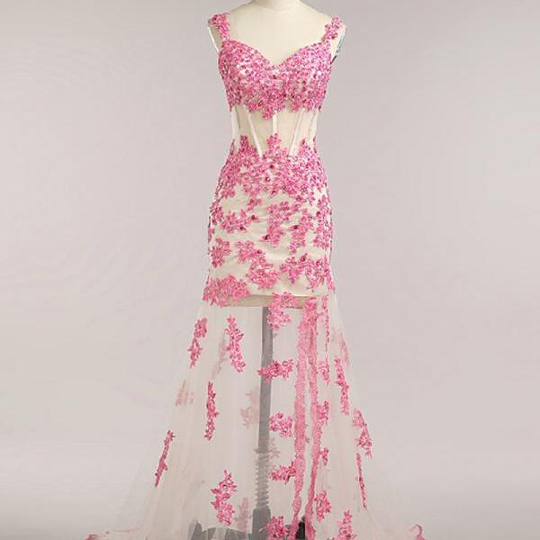 Charming Pink Mermaid Formal Dresses Lace Appliques Spaghetti Straps Prom Dresses With Court Train