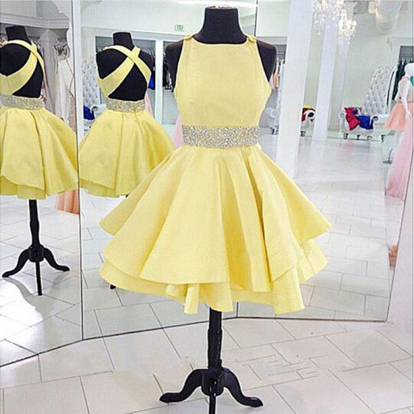 Yellow Homecoming Dresses,Short Prom Dresses, Backless Homecoming Dresses,Satin Homecoming Dresses,Beaded Homecoming Dresses,Pretty Homecoming Dresses
