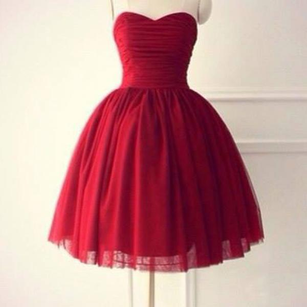 Red Homecoming Dresses,Short Prom Dresses, Sweetheart Homecoming Dresses,Tulle Homecoming Dresses,Ruched Homecoming Dresses,Pretty Homecoming Dresses