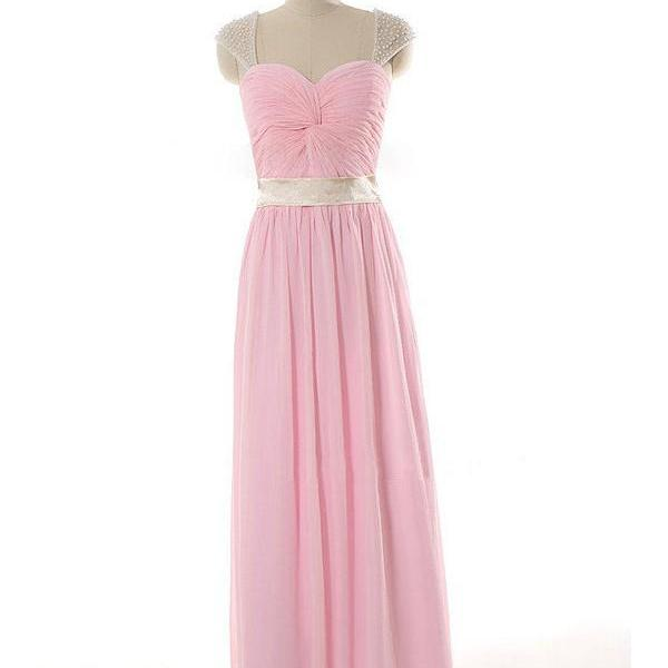 Pink Beaded Cap Sleeve Chiffon Bridesmaid Dresses, Floor Length Elegant Chiffon Formal Dresses, Wedding Party dresses,Prom Gowns
