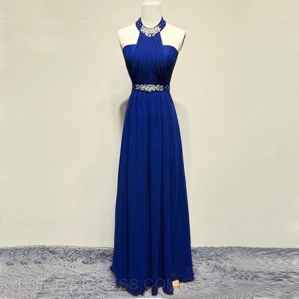 Elegant Long Royal Blue Prom Dresses Halter Neckline Beaded Evening Gowns
