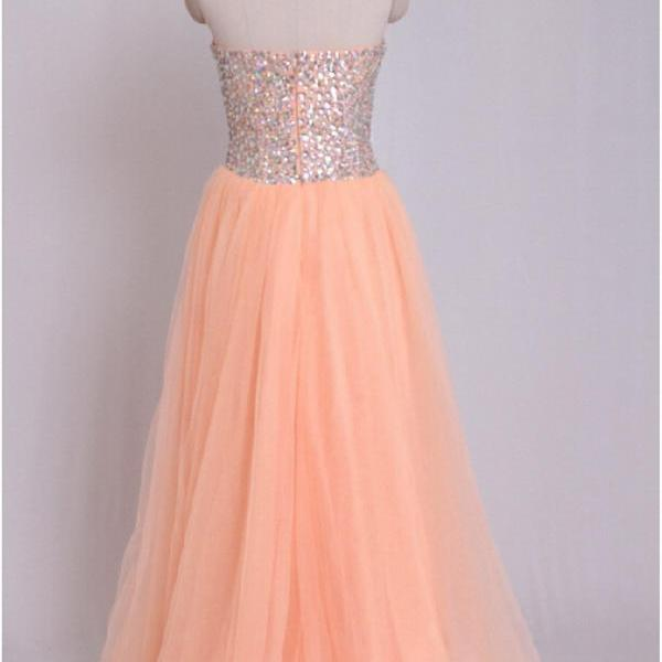 Sparkly Rhinestones Embellished Prom Dresses Sweetheart Tulle Coral Evening Formal Gowns