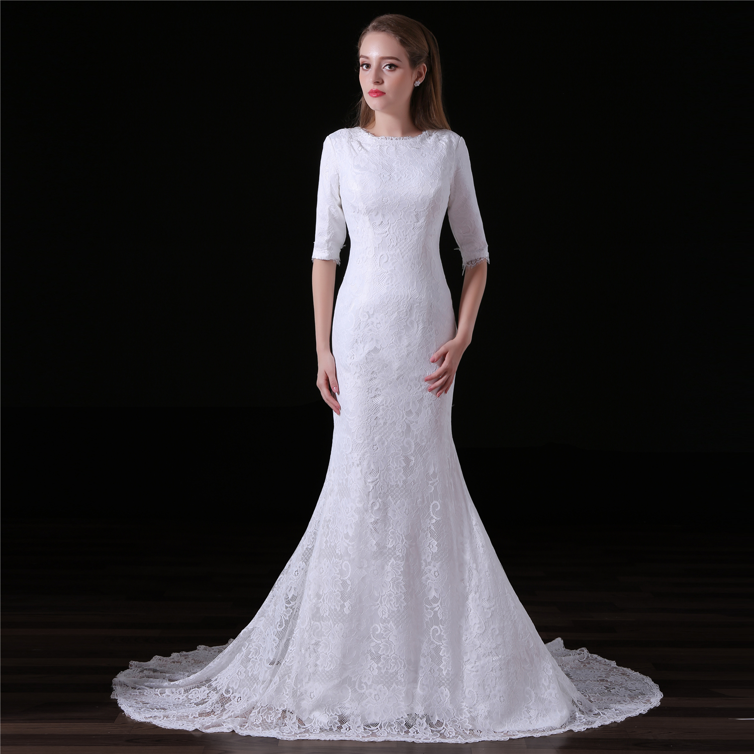 c41b38573f54 New Arrival Lace Mermaid Wedding Dresses With Half Sleeve And O Neck on  Luulla